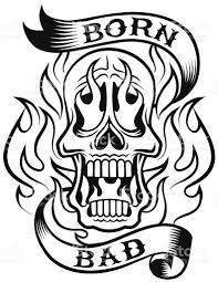 skull on fire tattoo design stock vector art 450654077 istock