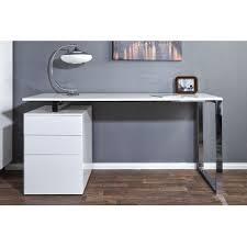 bureau laqué blanc design bureau design blanc laque avec rangement compact