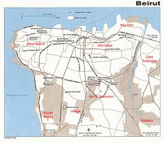 Mideast Map Map Of Beirut Lebanon