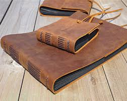 handmade leather photo albums leather rustic book etsy