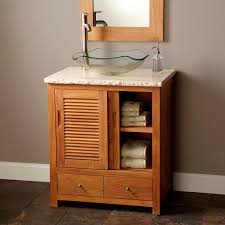 cherry teak wood furnising bathroom vanity with double wood wall