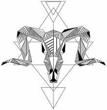 tattoo geometric outline black ink geometric ram skull on outline drawings tattoo design