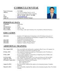 format cv format of curriculum vitae cv resume format