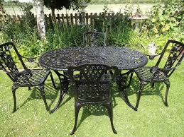 Cast Aluminium Garden Table And Chairs Cast Iron Aluminium Garden Set Large Table And 4 Carver