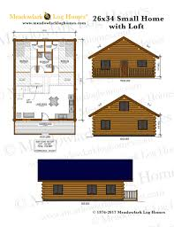 Small Log Home Plans With Loft 26x34 Log Home W Loft Meadowlark Log Homes
