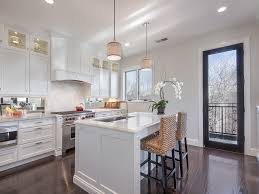 white kitchen island with stools cool seagrass bar stools in kitchen traditional with white range