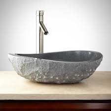 Granite Sinks Granite Vessel Sink With Light Granite Chiseled Exterior Bathroom