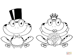 bride and groom frogs characters coloring page free printable