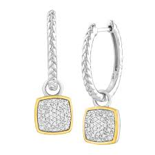 drop hoop earrings 1 5 ct diamond drop hoop earrings in sterling silver 14k gold
