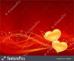 Romantic Designs by Romantic Background In Red With Two Golden Hearts
