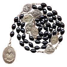 rosary of the seven sorrows silky black wood servite rosary of the seven sorrows of italy