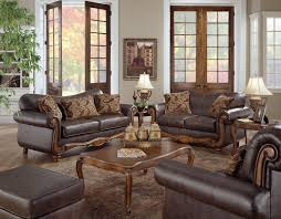 living room retro living room decor idea brown fabric sofa glass