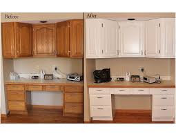 before and after pictures of painted oak kitchen cabinets
