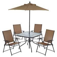 Outdoor Patio Set With Umbrella Outdoor 6 Folding Patio Dining Furniture Set