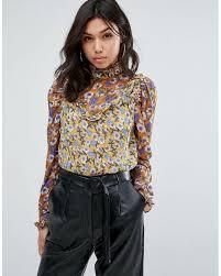 high neck ruffle blouse lyst boohoo high neck floral ruffle blouse