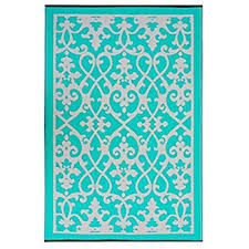 Recycled Outdoor Rugs Amazon Com Fab Habitat Cancun Indoor Outdoor Rug Turquoise