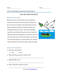 the ant and dove u003cbr u003efirst grade reading worksheets tippharat