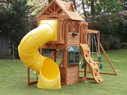 idyllic kids outdoor wooden playhouse design ideas combine