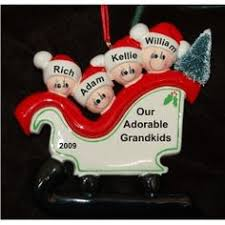Grandparent Ornaments Personalized 3 Sleigh For Grandkids Family Christmas Ornament Grandkids And