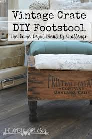 pre turned table legs create a footstool out of a vintage crate with pre made furniture