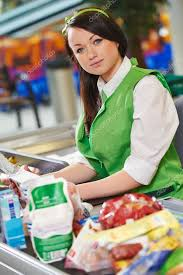Supermarket Cash Desk Shopping Cashdesk Worker In Supermarket U2014 Stock Photo