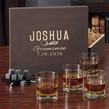 engraved box groomsman engraved whiskey glass set with gift box
