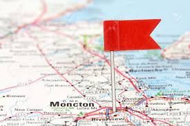 Moncton Canada Map by Moncton In New Brunswick Canada Red Flag Pin On An Old Map