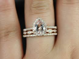 pear shaped gold engagement rings rosados box and christie trio gold pear morganite and