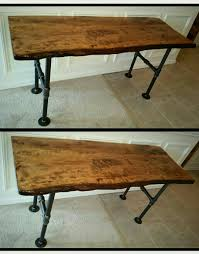 live edge wood slab desk pipe desk galvanized metal pipe desk