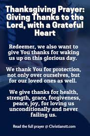 prayer giving thanks to the lord with a grateful