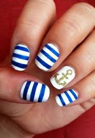 navy blue and gold nautical nails with anchor nails