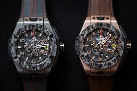 golden ferrari with diamonds introducing the hublot big bang ferrari carbon watch
