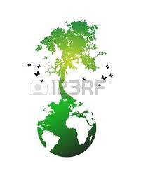 illustration of tree on world globe royalty free cliparts