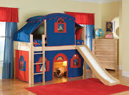 Loft Beds For Girls Beautiful Kid Bedroom Plus Blue Red Tent Oak Wood Boy Bunk Bed W