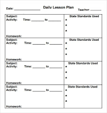 sample daily lesson plan template efficiencyexperts us