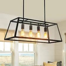 Retro Hanging Light Fixtures Retro Rustic Wrought Iron Black Chandelier Light Rectangle Loft