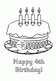 happy 4th birthday cake coloring page for kids holiday coloring