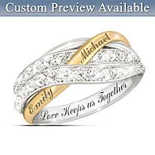 wedding ring with name engraved together in personalized white diamonds womens ring