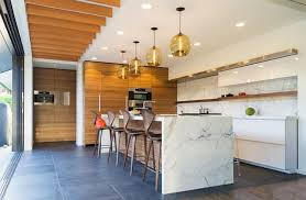 Wooden Bar Stools Marble Countertop And Backsplash Bamboo Island - Bamboo backsplash