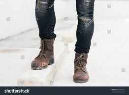 men fashion leather boots close view stock photo 567797974