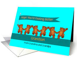 feel better bears get well soon cards for grandson from greeting card universe