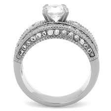 rings bridal vintage style stainless steel cz bridal wedding ring