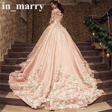 pink wedding dresses discount luxury pink arabic design wedding dresses 2017 a line 3 4