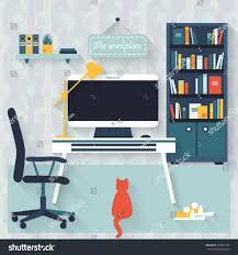 Flat Interior Design Flat Interior Design Workspace Freelancer Home Stock Illustration