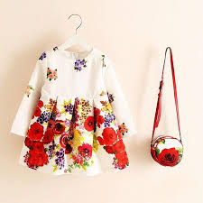 Long Sleeve Dress Girl Christmas Dress 2018 Autumn Winter Floral