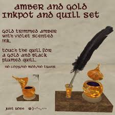 Quill Desk Lamp Second Life Marketplace Amber And Gold Inkwell And Quill Set