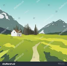 mountain landscape lonely house stock vector 479908207 shutterstock