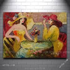 modern looking oil painting of two ladies taking coffee break in