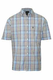 mens champion kelso country style casual check short sleeved shirt