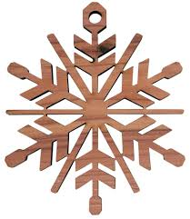 laser engraved snowflake tree ornament birch or cedar wood